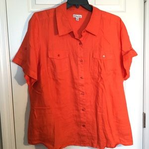 Kim Rogers orange linen blouse, 2X